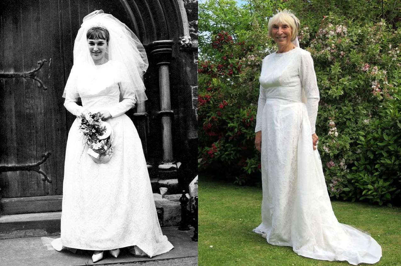 Valerie on her wedding day in 1965, and back in her dress this year for their 50th wedding anniversary.
