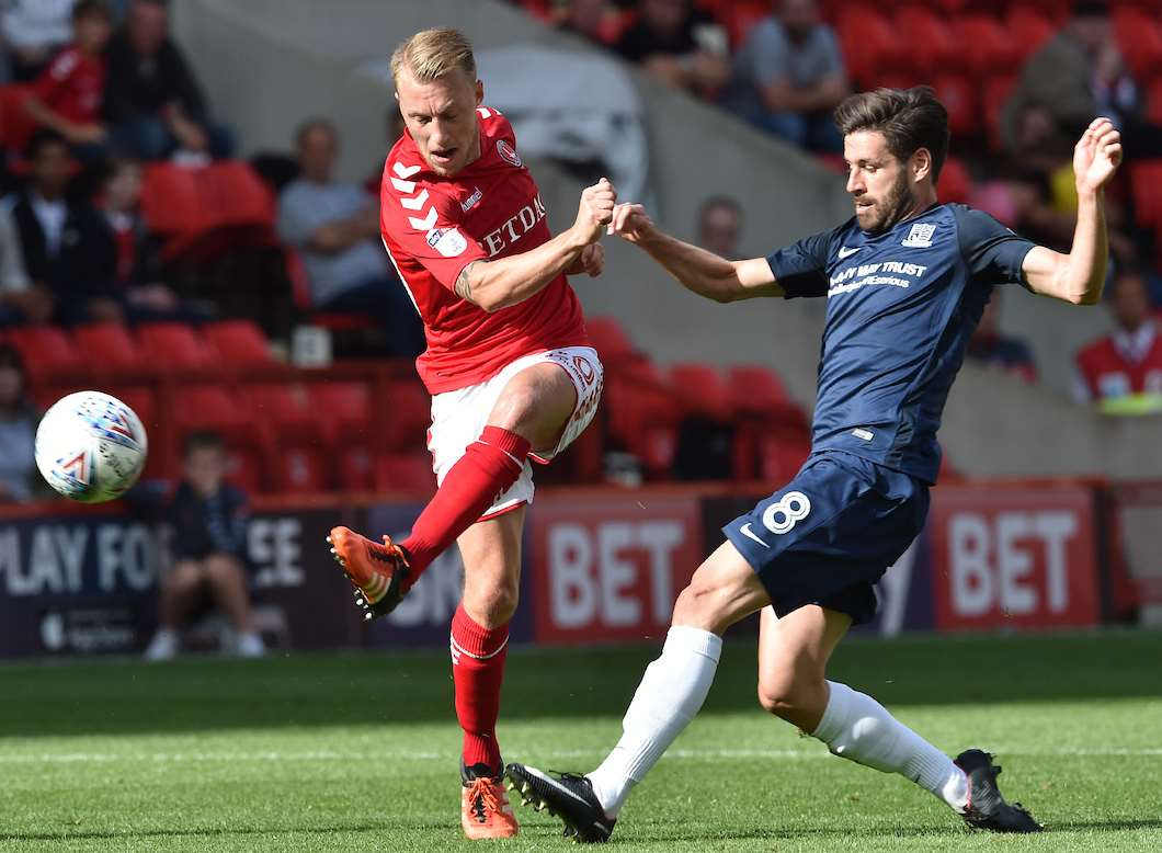 Chris Solly gets to the ball first for Charlton against Southend. Picture: Keith Gillard