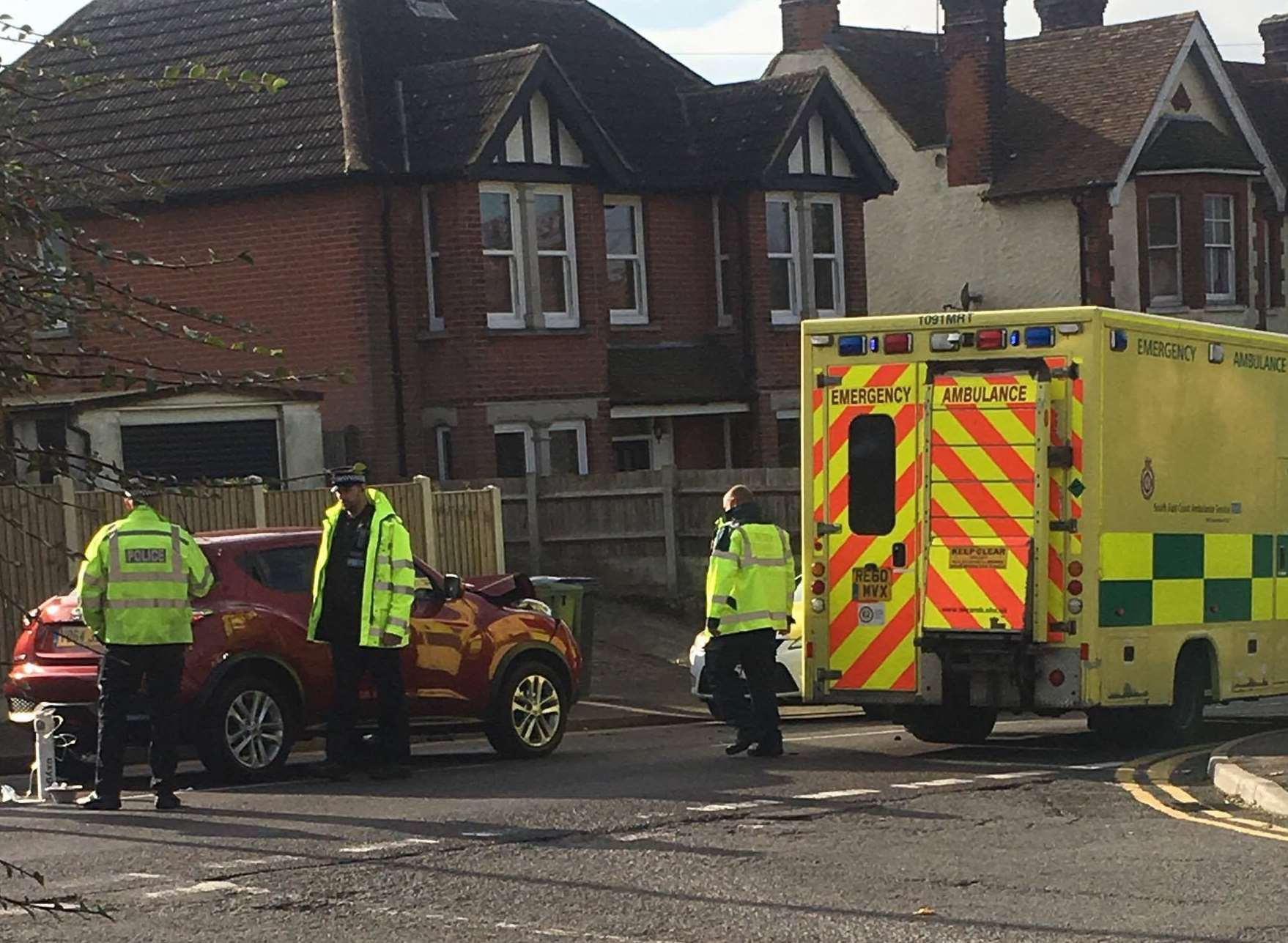 Emergency services at the scene of the crash in St Martin's Hill, Canterbury