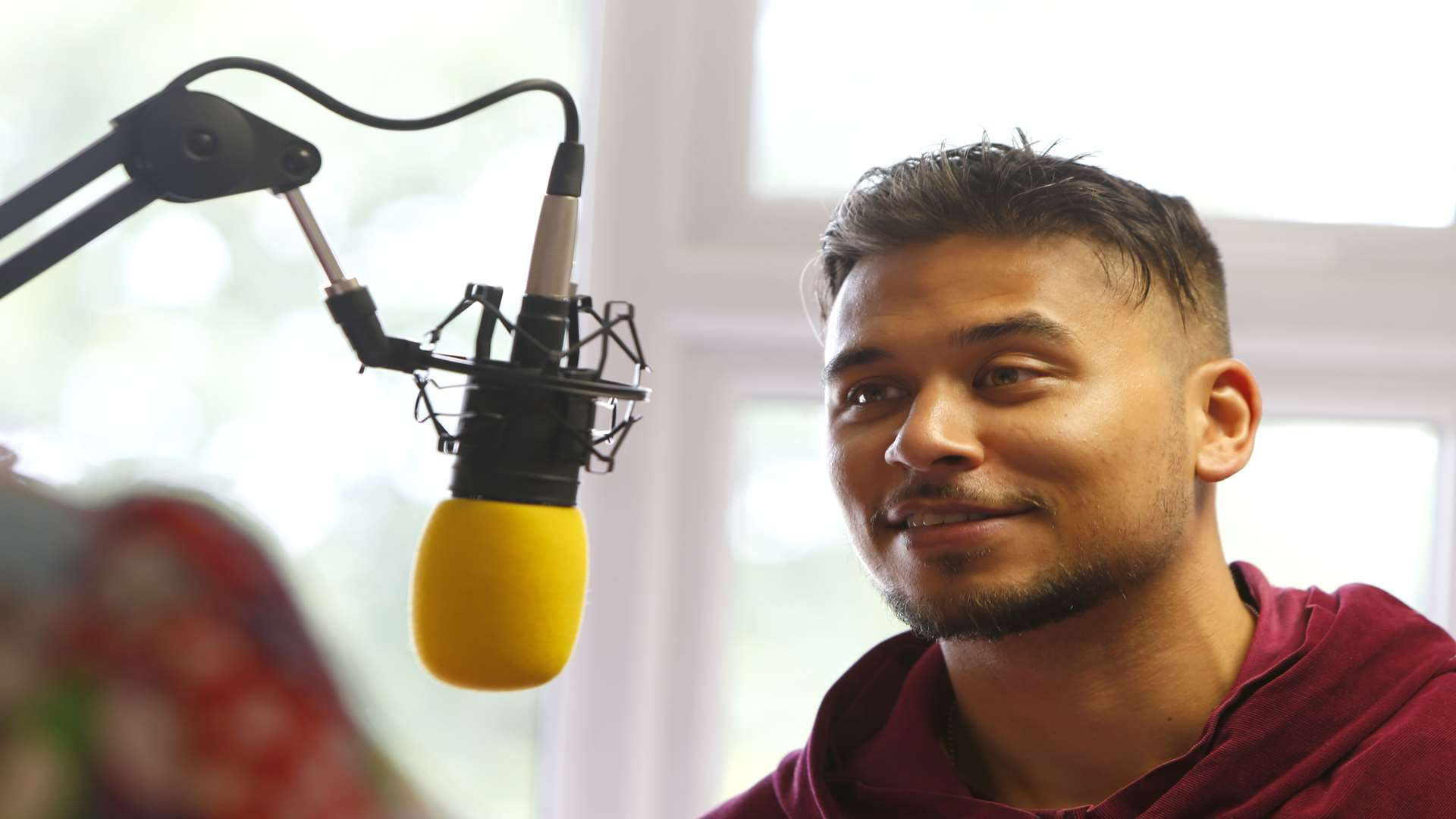 Ricky Norwood, star of the Stag Theatre's show this Christmas, being interviewed on kmfm