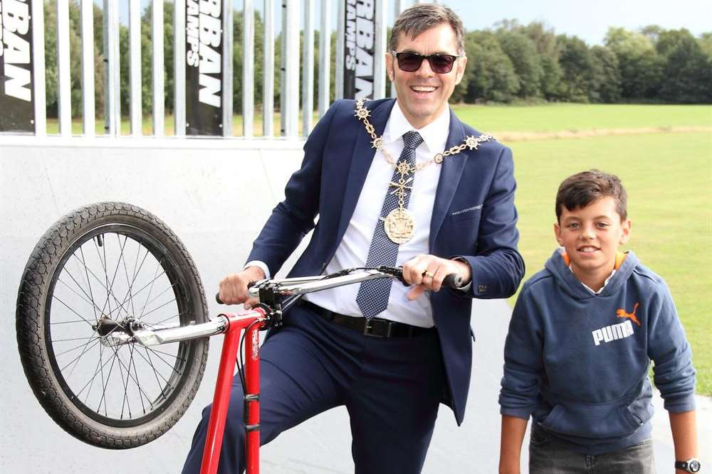 Mayor of Gravesham John Caller showing off his bike skills