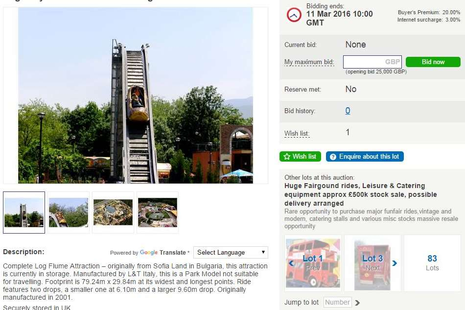 A log flume, originally bought for £145,000, has a starting price of £25,000.