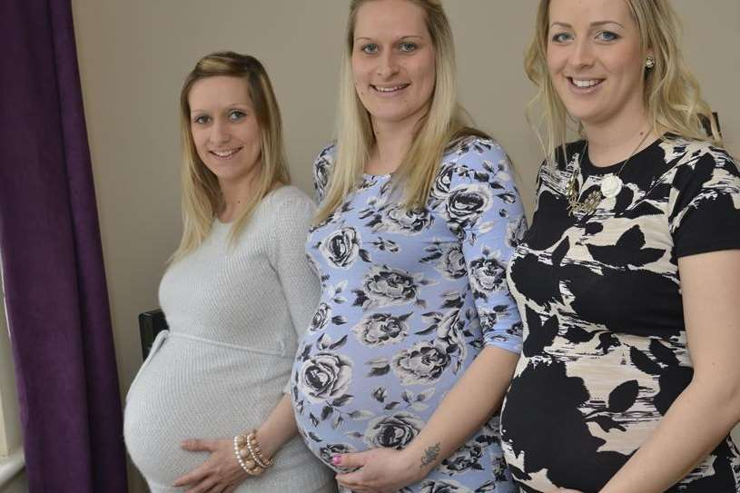 The three sisters when they were pregnant - Carla Manning, Jodie Manning and Kerry Harwood