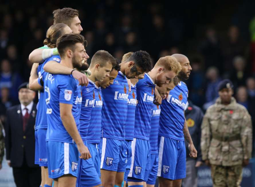 Armistice Day silence for the Gills ahead of their game with Bury Picture: Andy Jones