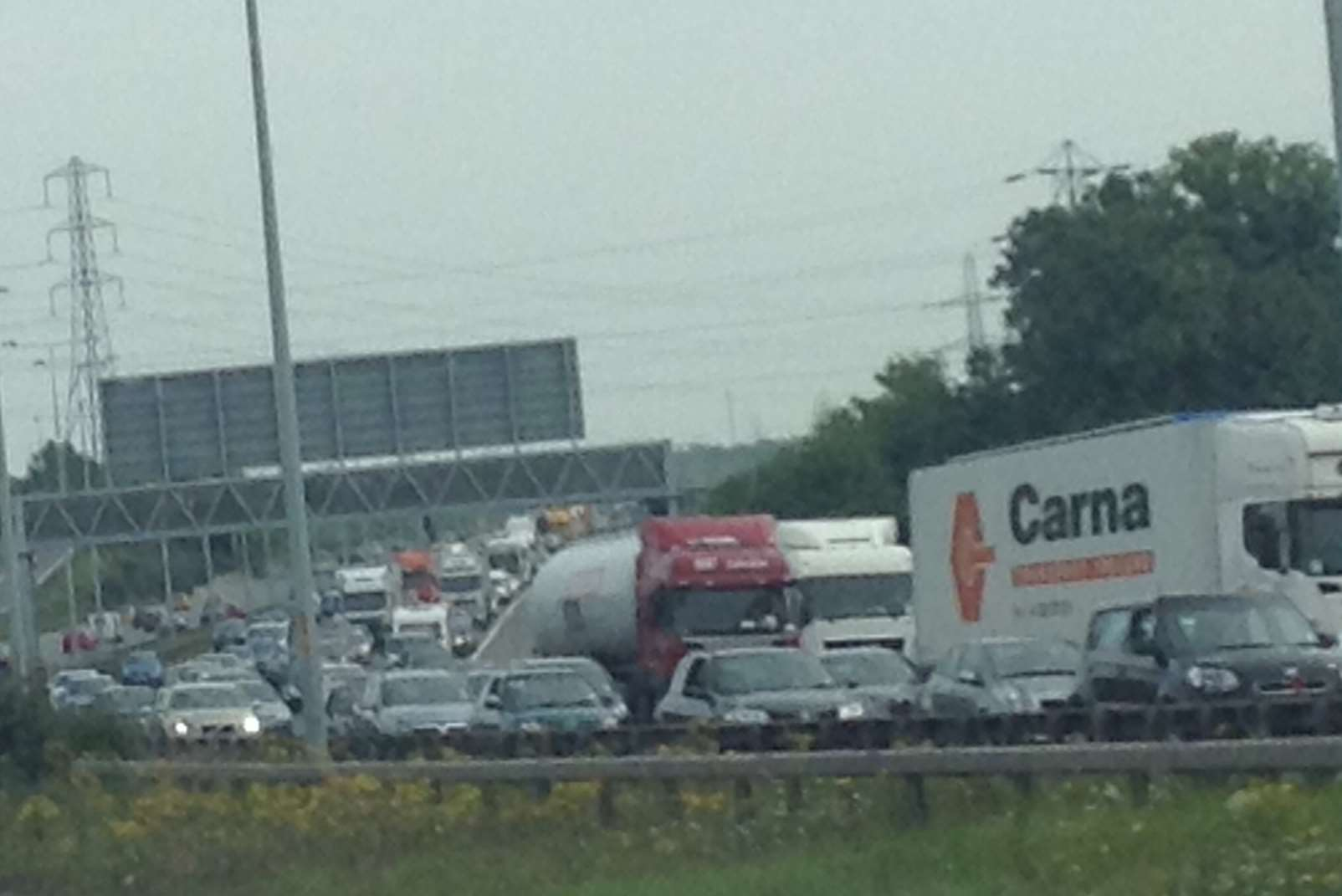 Queues on the A2 after a man and a woman were seriously hurt in a crash. Picture: Julia Roberts