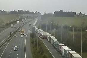 Lorries backing up along the M20 at Junction 11a for the Channel Tunnel at Cheriton. Picture: Highways Agency
