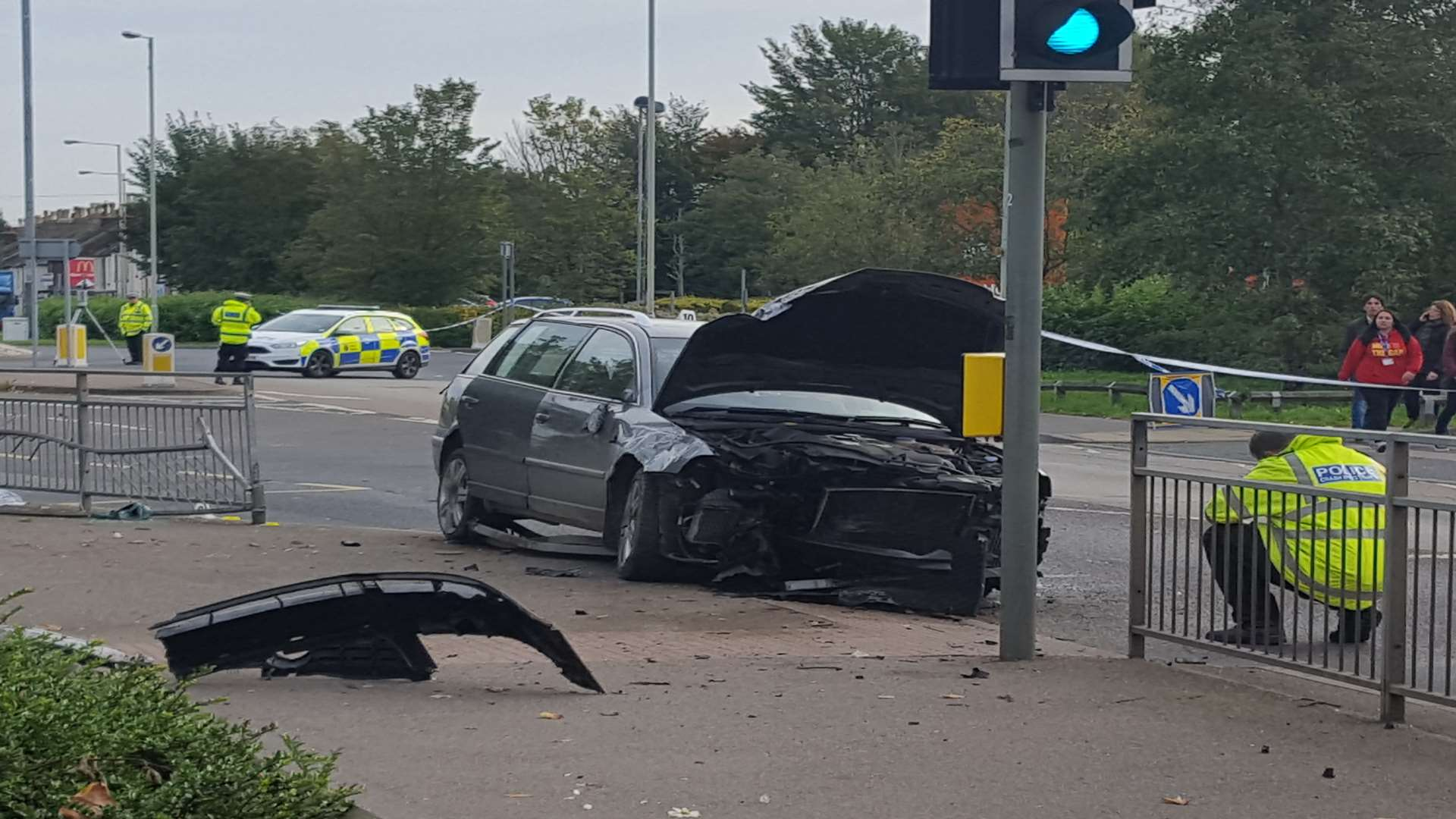 The wreckage of the car in Sturry Road
