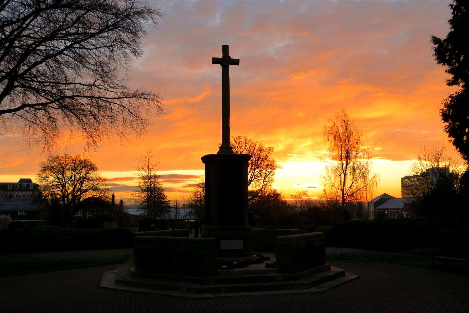 The war memorial in Ashford's Memorial Gardens - picture courtesy of Andy Clark