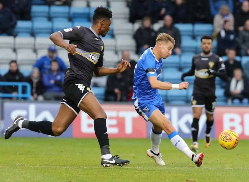 Lee Martin looks to make things happen for Gillingham against Bury Picture: Andy Jones