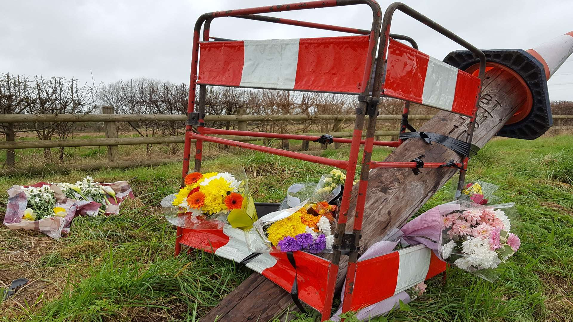 Floral tributes have been left at the site where Leanna died