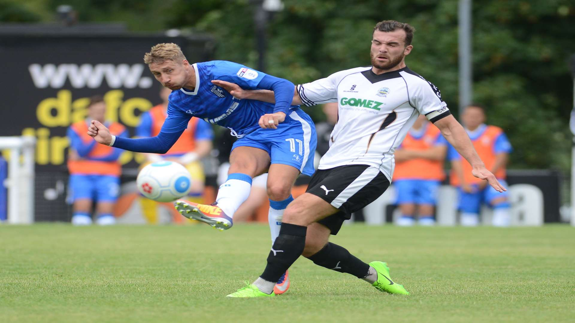 Gillingham's Lee Martin up against Dover skipper Mitch Brundle Picture: Gary Browne