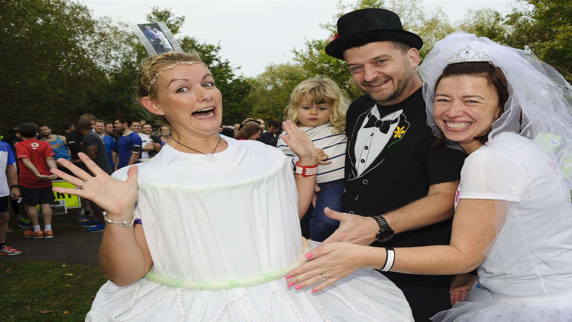 Dressed as a cake, Jo Hovenden, left, with Matt and Becky. Picture: Andy Payton