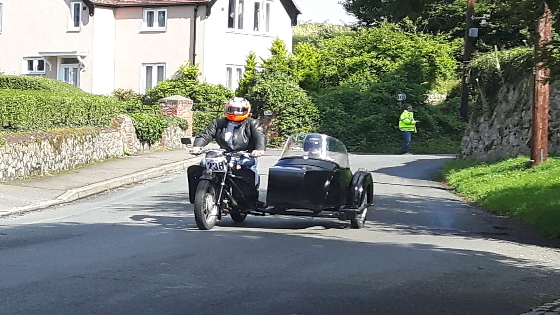 A motorbike and sidecar spotted heading through Birling at this year's International West Kent Run