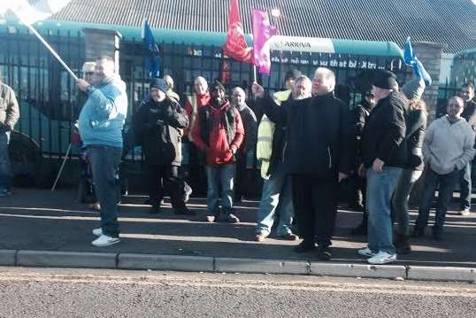 Workers picketing at the Arriva bus depot in Gillingham
