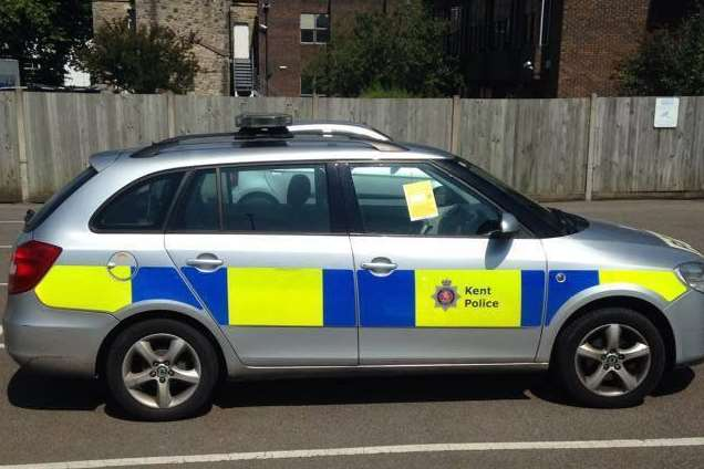 A police car was issued a parking fine in a car park in Week Street, Maidstone. Picture: Spotted in Maidstone
