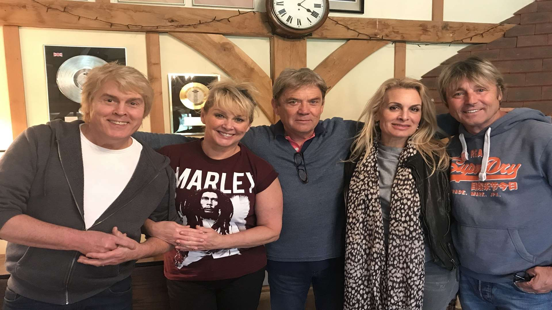The Fizz band members with record producer Mike Stock (from left): Mike Nolan, Cheryl Baker, Mike Stock, Jay Aston and Bobby McVay. Picture: PA Photo/MPG Records.