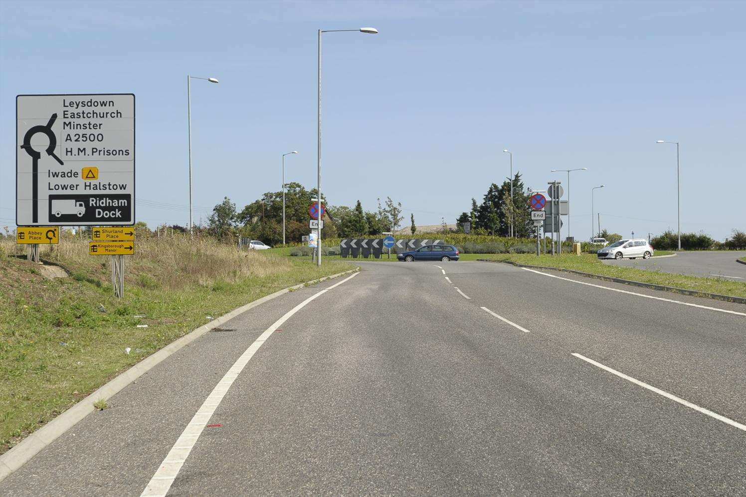 Views of roundabout and signage at Cowstead Corner