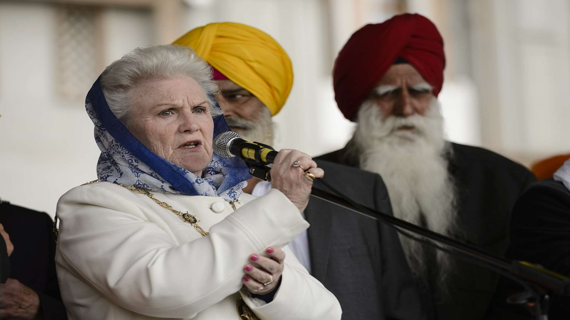 Cllr Greta Goatley speaks at this year's Vaisakhi festival. Picture: Andy Payton