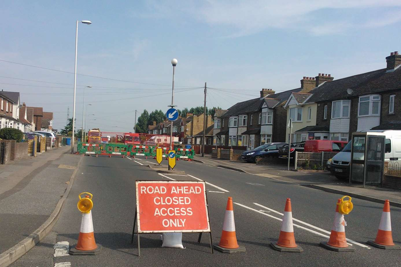 Workers closed a stretch of Grovehurst Road after a hole opened up