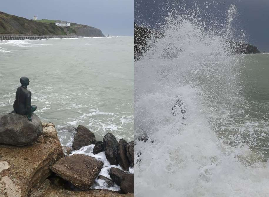 The Little Mermaid statue in Folkestone before and as a wave hits