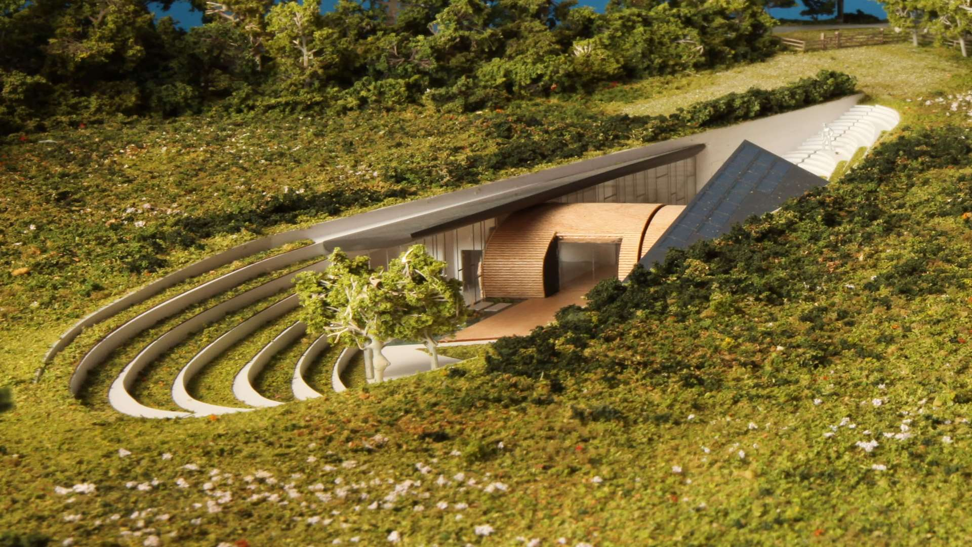 The house will be virtually invisible from above ground. Picture: Hawkes Architecture