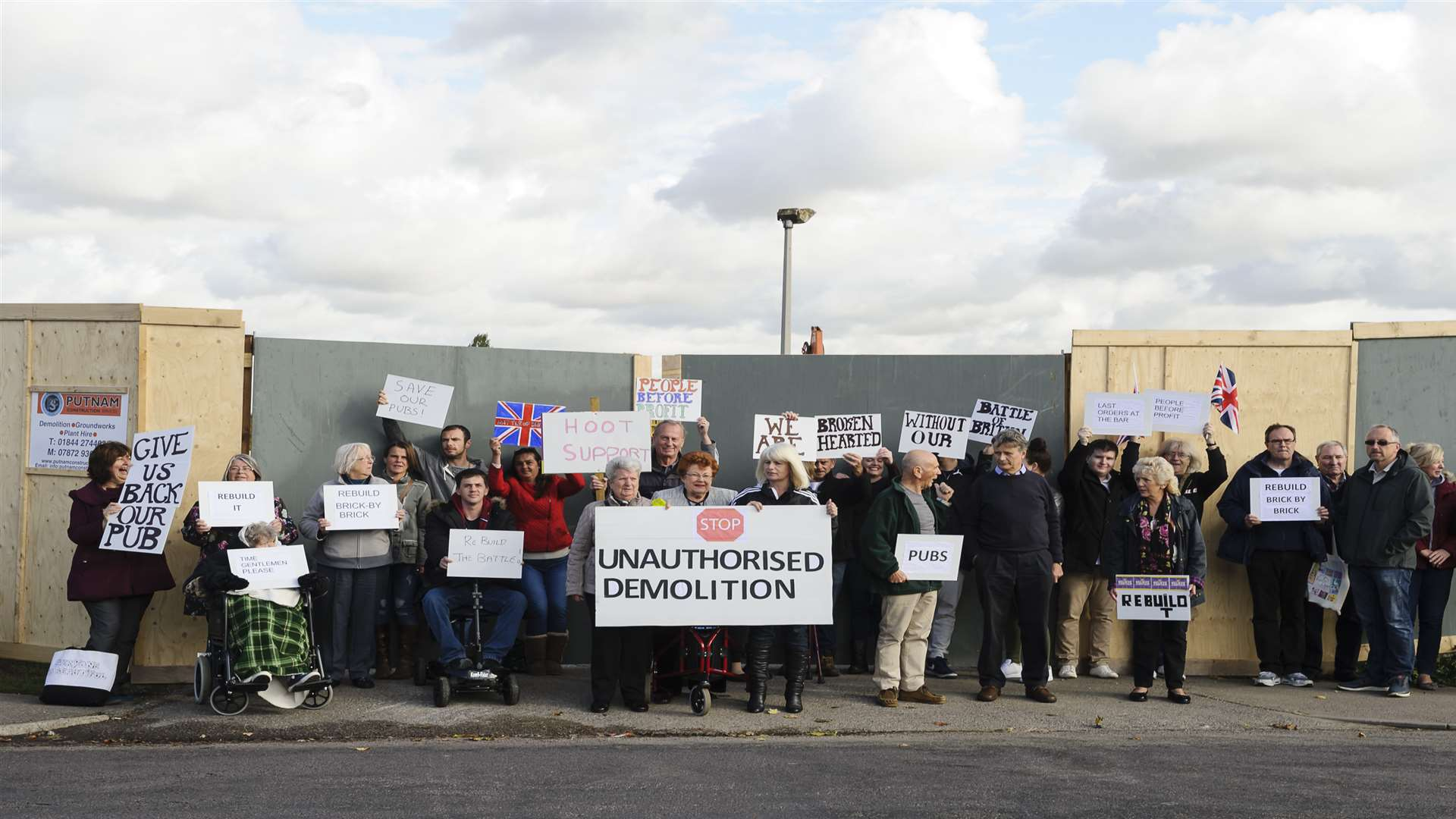 Demonstrators outside the site of the former Battle of Britain pub, Coldharbour Road, Northfleet.