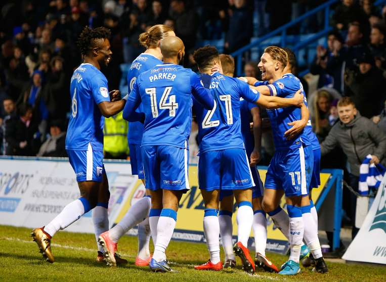 Gillingham celebrate Lee Martin's winning goal Picture: Andy Jones