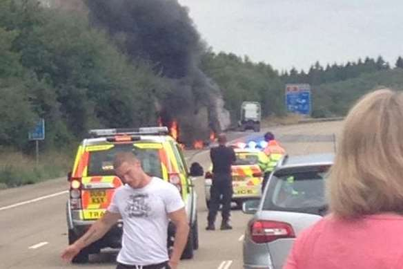 The lorry fire which has shut the M20 in both directions around Leeds Castle