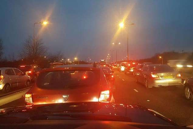 Traffic on Blue Bell Hill after the crash. Picture: Darren Edwards