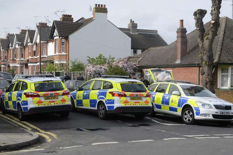 A large police presence in Herne Bay. Picture: Chris Davey