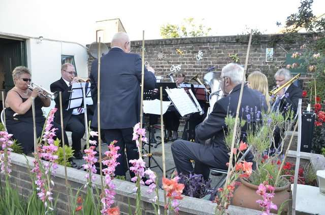 Members of Betteshanger Colliery Welfare Band played on the patio at the unveiling of the historical plaque