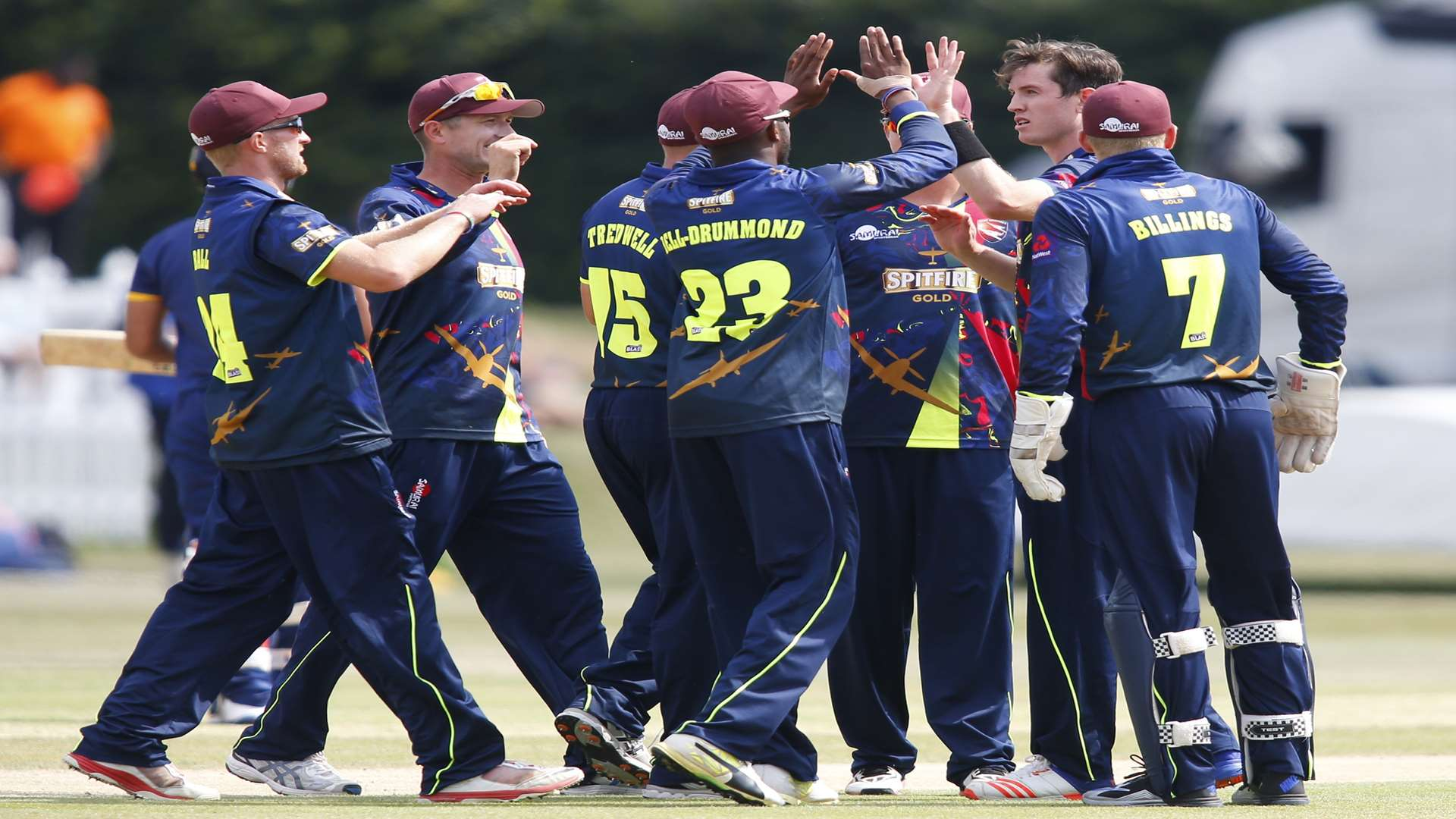 Adam Milne celebrates a wicket for Spitfires against Essex Eagles. Picture: Andy Jones