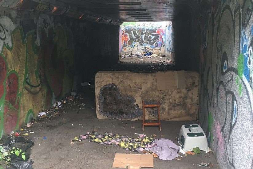 The drug den discovered in an abandoned underpass in Folkestone