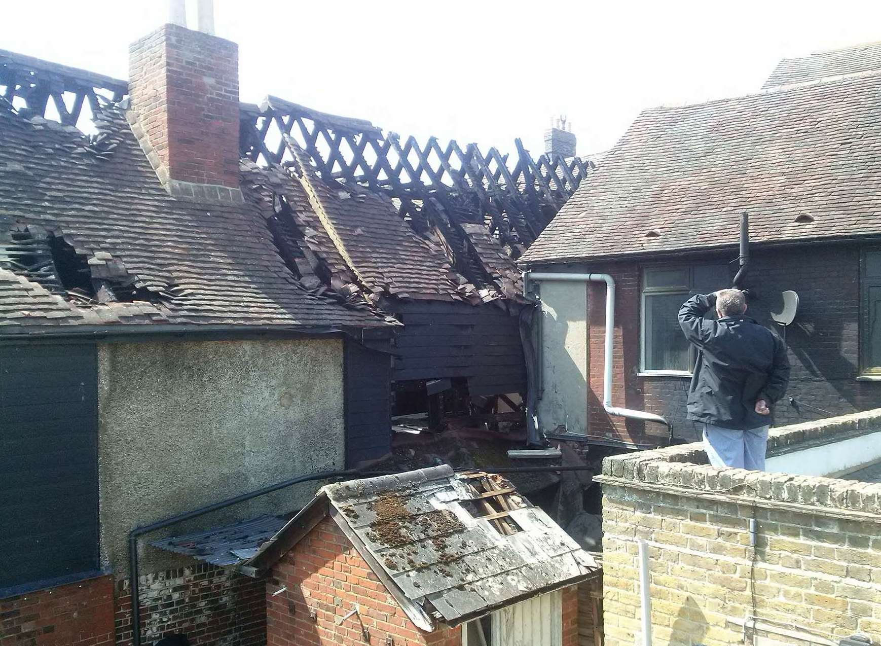 New pictures show the extent of the damage in the roof of one of the buildings affected. Picture: Oliver Sebastien.