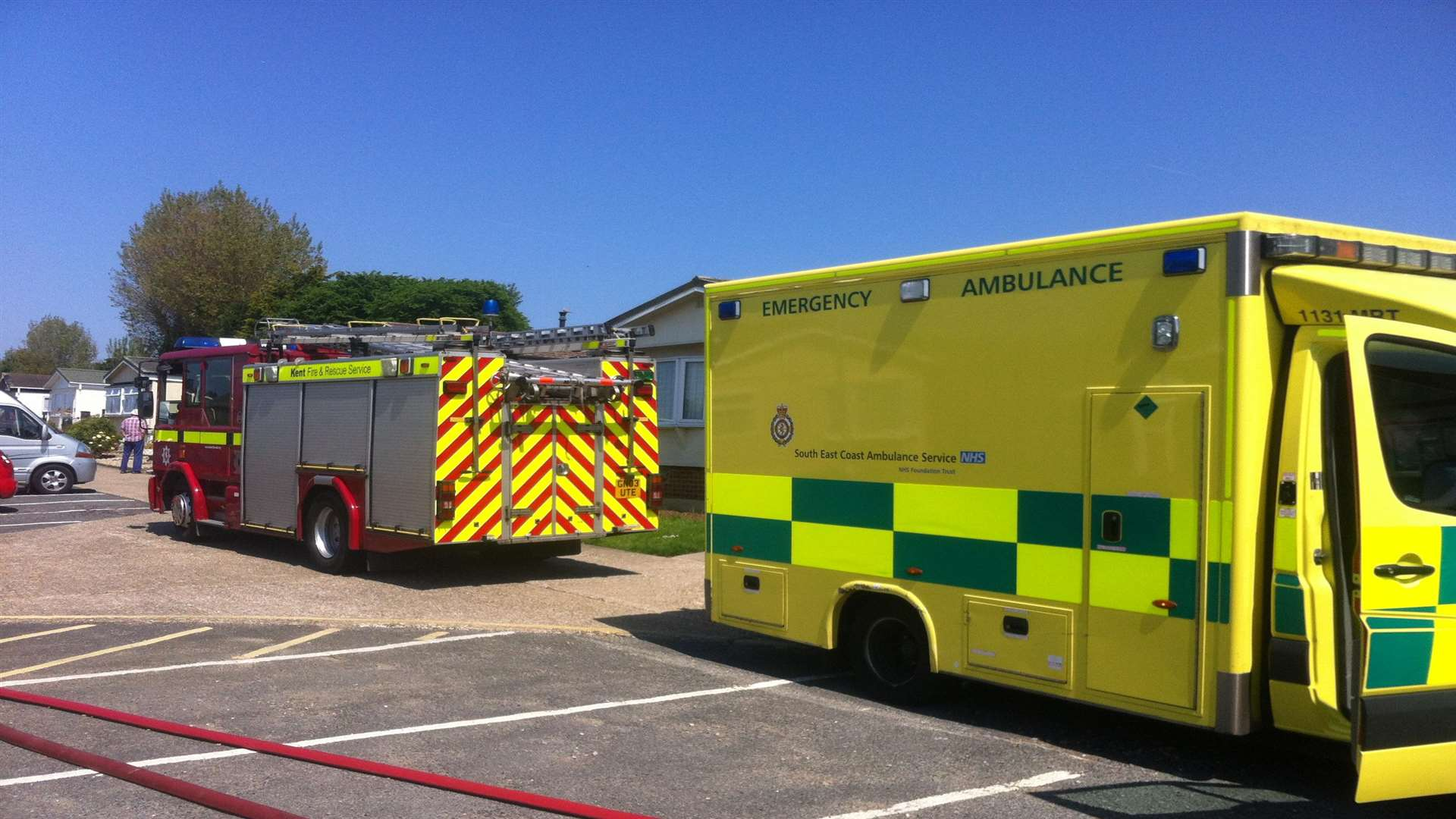Fire crews and an ambulance at the caravan park.