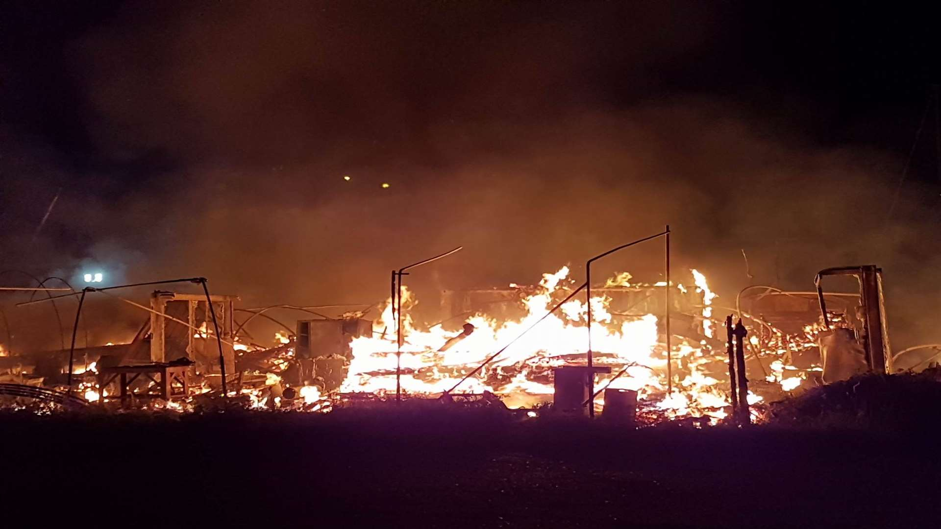 The fire rages at the boatyard. Picture: Dan Salter.