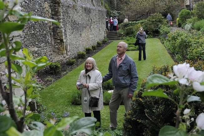 Alethea & Graham Lester visiting the Archdeaconry garden, Canterbury Cathedral