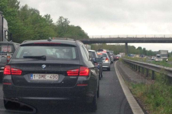 Queues build on the M20 near Ashford after a person was hit by a lorry. Picture: Keighley Hopper
