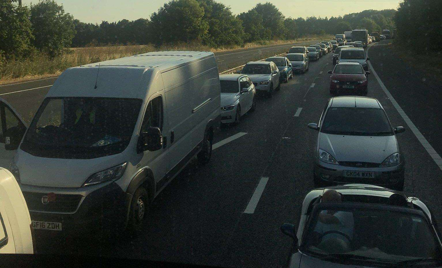 Delays stretch back five miles on the M2. Picture: Brad Hobbs