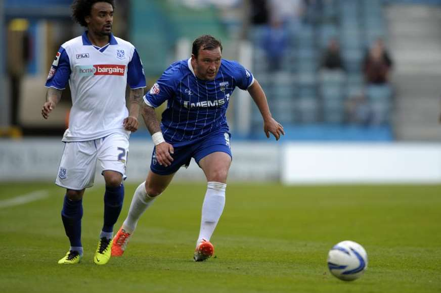 Danny Kedwell in determined mood against Tranmere Picture: Barry Goodwin