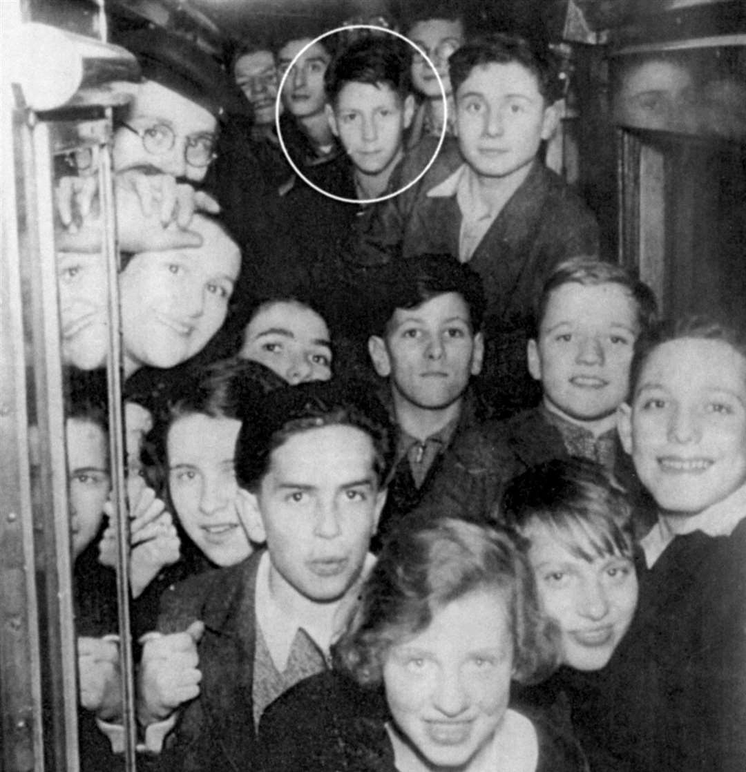 Pupil Leslie Brent, circled, on a train to Kent