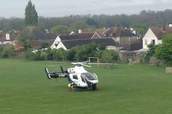 An air ambulance at Herne Bay Junior School: John Di Lernia