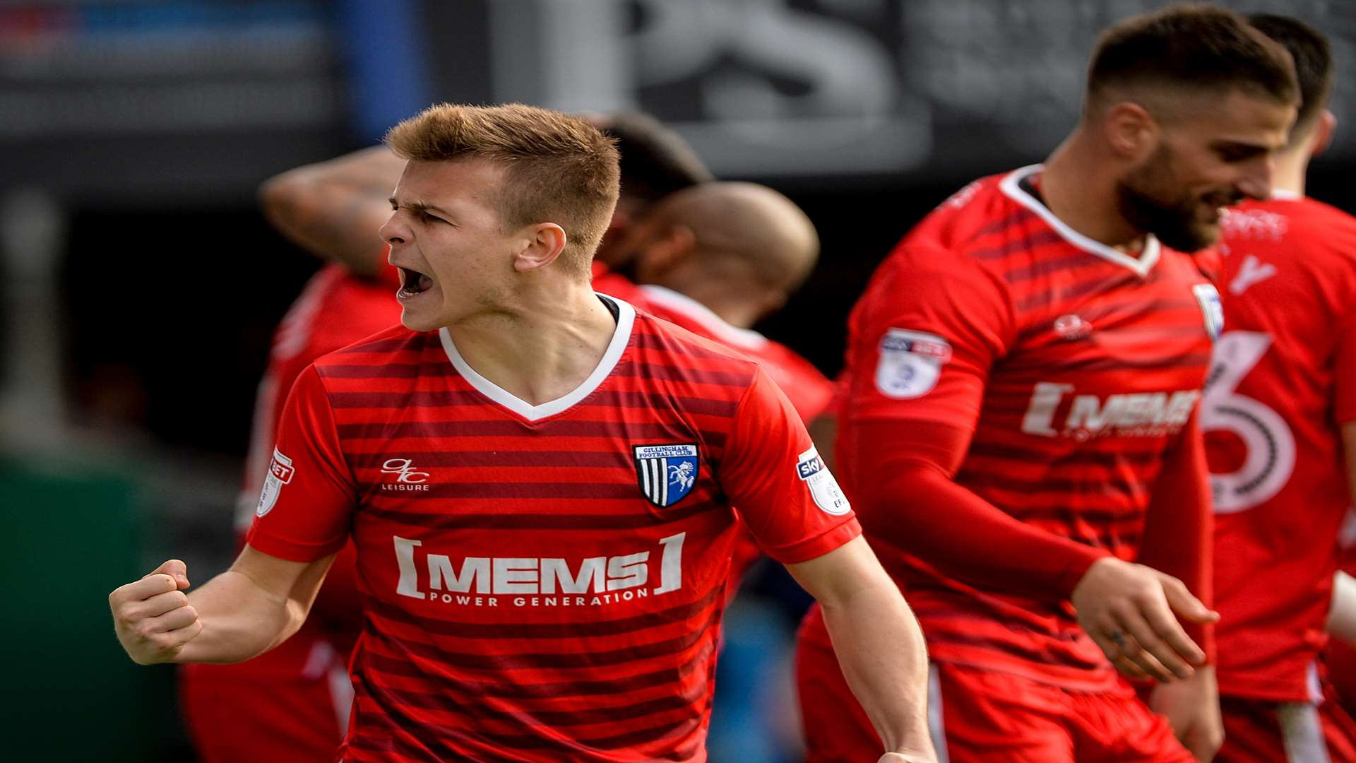 Jake Hessenthaler celebrates Conor Wilkinson's equaliser at Portsmouth Picture: Ady Kerry