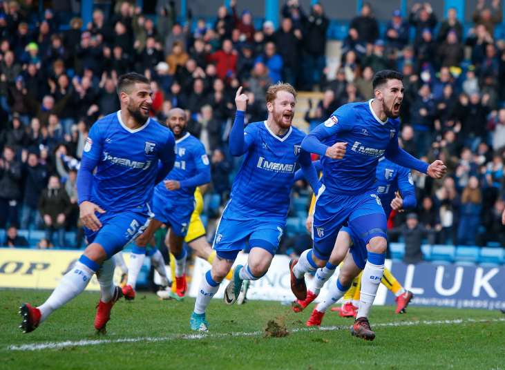 Gillingham celebrate their late equaliser against Oxford Picture: Andy Jones