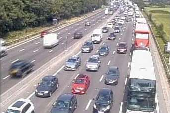 Long queues were reported on the M25