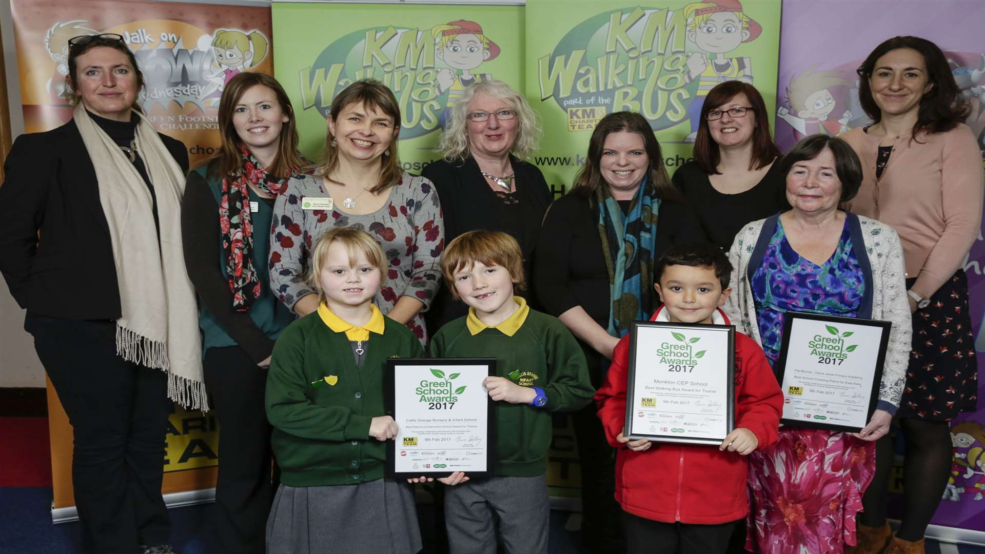 Winners of the 2017 awards included Pat Bennett of Dame Janet Primary Academy (Best School Crossing Patrol), Monkton CEP School (Best Walking Bus), and Callis Grange Nursery and Infant School (Best Primary School Nature Conservation.