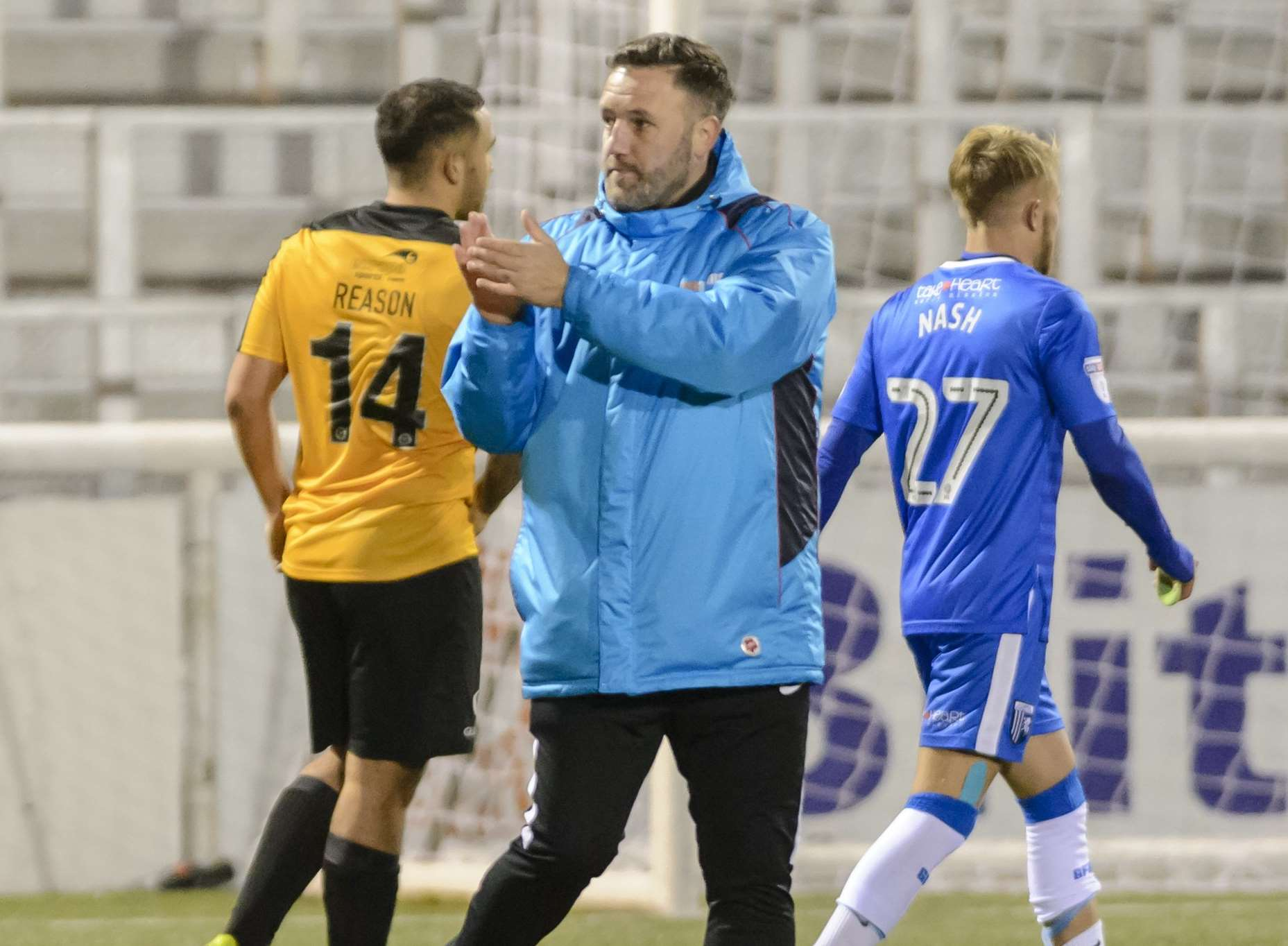 Stones boss Jay Saunders applauds the fans at the final whistle Picture: Andy Payton