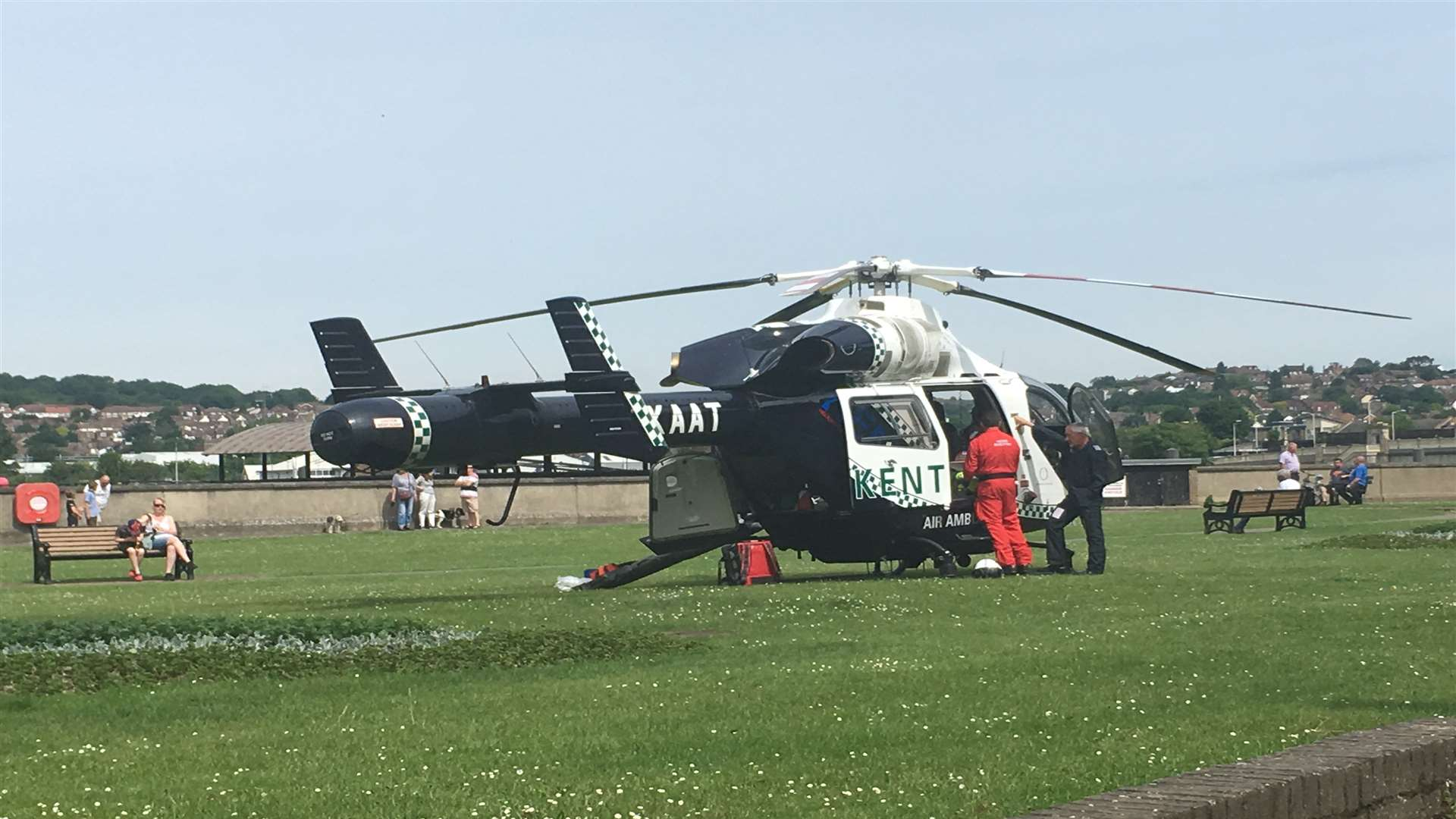 The Kent Air Ambulance landed on The Esplanade.