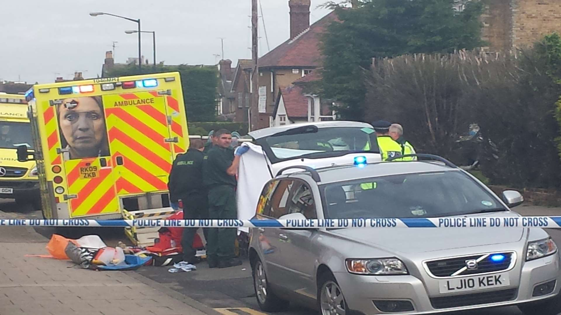 Emergency crews treat man seen on fire in Herne Bay