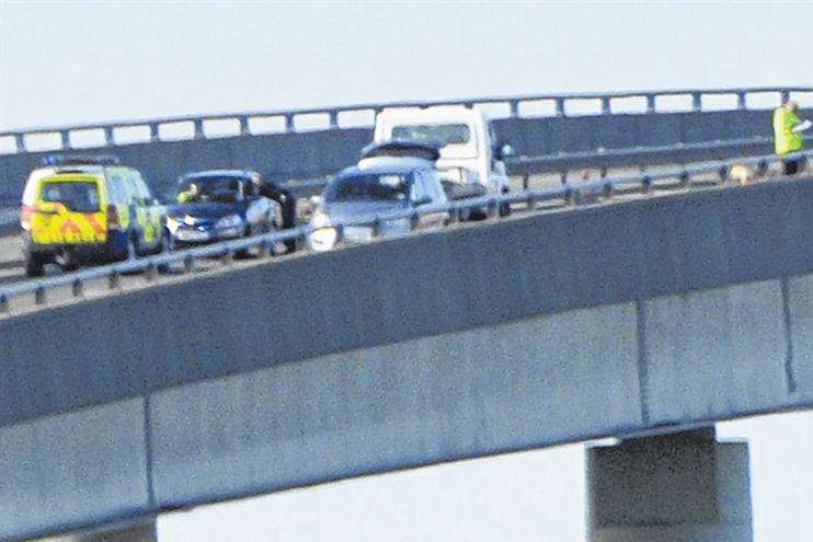Police at the scene of the Sheppey Crossing crash